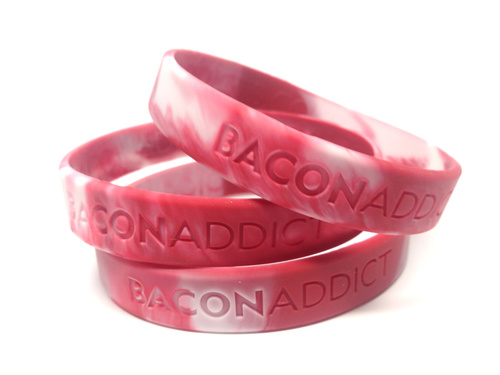 BULK Bacon Addict Wristband - Bacon Addict - Silicone Wrist Band Rubber Bracelet (100ct)