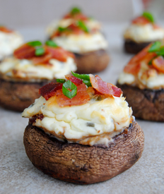 Bacon & Spicy Cream Cheese Stuffed Mushrooms!