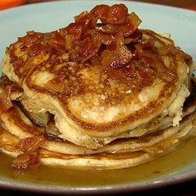 Bacon Pancakes With Maple Bourbon Butter Sauce!