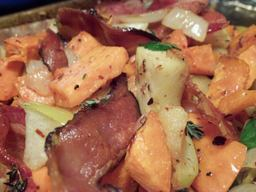 Bacon Roasted Sweet Potato & Apple Hash!!