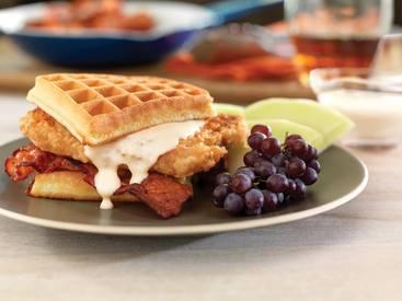 Bacon Pork Chop Waffle Sandwich!