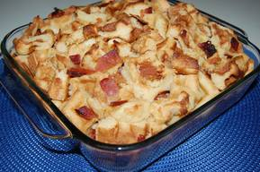 Waffle Bread Pudding With Bacon!