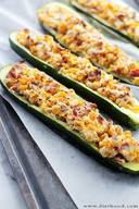 Cheesy Bacon Corn Stuffed Zucchini!