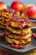 Apple Cheddar Bacon Fritters In Caramel Sauce!