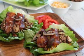 Bacon Mushroom Cheeseburger Lettuce Wraps!