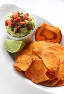 Baked Sweet Potato Chips & Bacon Guacamole!