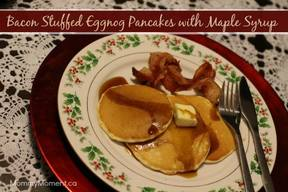 Bacon Stuffed Eggnog Pancakes!