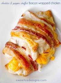Cheddar & Pepper Stuffed Bacon Wrapped Chicken!