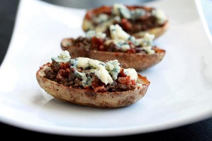 Bacon & Blue Cheeseburger Potato Skins!