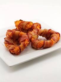 Bacon Wrapped Doritos Breaded Onion Rings!