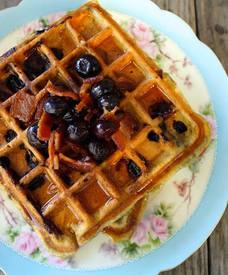 Brown Butter Blueberry Bacon Waffles!