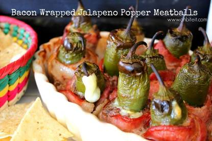 Bacon Wrapped Jalapeno Popper Meatballs!