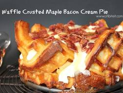 Waffle Crusted Maple Bacon Cream Pie!