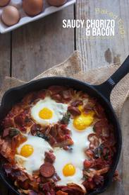 Saucy Bacon Chorizo Baked Eggs!