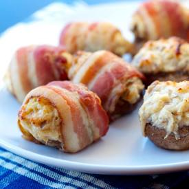 Bacon Wrapped Crab Stuffed Mushrooms!