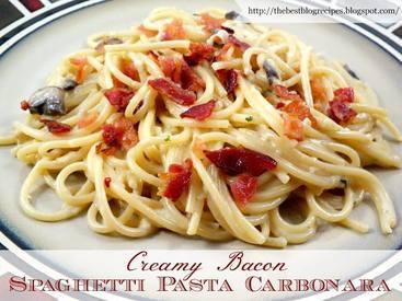 Creamy Bacon Spaghetti Pasta Carbonara!