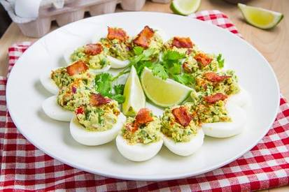 Bacon Guacamole Deviled Eggs!