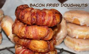 Bacon Wrapped Fried Doughnuts!