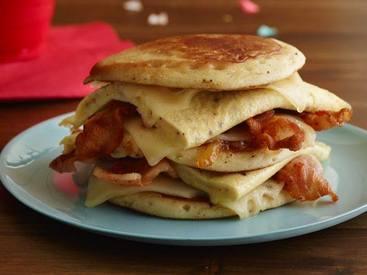 Bacon Egg Cheese & Pancake Sandwich!