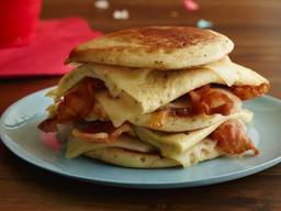 Bacon Egg Cheese & Pancake Sandwich!