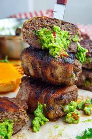 Bacon Wrapped Guac Stuffed Burgers!