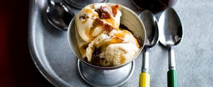 Candied Bacon Ice Cream W/ Bourbon Sauce!