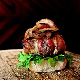 Cheddar Stuffed Bacon Wrapped Burgers!