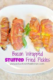 Bacon Wrapped Stuffed Fried Pickles!