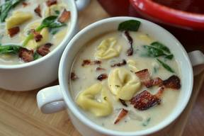 Bacon Spinach Tortellini Soup!