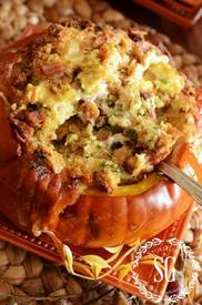 Gruyere, Bacon & Green Onion Roasted Stuffed Pumpkin!