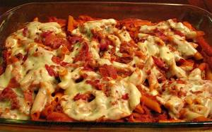 Bacon Provolone Penne Pasta Bake!