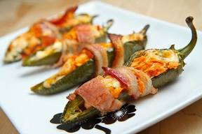 Bacon Wrapped Buffalo Chicken Jalapeno Poppers!