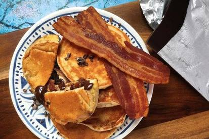 Dark Chocolate, Pb & Bacon Protein Pancakes!