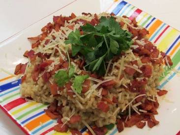 Crisp Peppered Bacon Risotto!