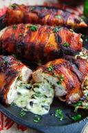 Bacon Wrapped Jalapeno Popper Stuffed Chicken!