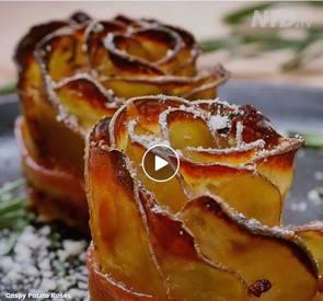 Crispy Bacon Potato Roses!