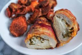 Bacon Wrapped Jalapeno Popper Chicken!