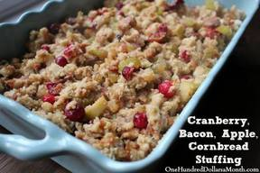 Cranberry Bacon Apple Cornbread Stuffing!