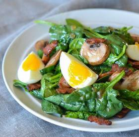 Spinach Salad W/ Bacon & Egg!