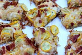 Bacon, Squash & Caramelized Onion Pizza!