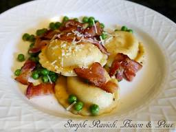 Simple Cheese Ravioli, Bacon & Peas!