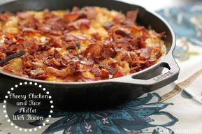 Cheesy Bacon Chicken & Rice Skillet!