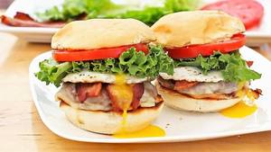 Egg Topped Bacon Cheeseburgers!