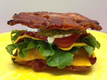Cheeseburger On Bacon Weave Bun!