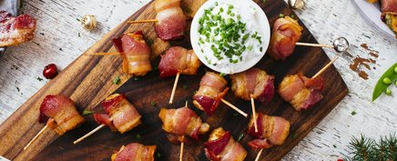Bacon Wrapped Tots W/ Onion Dip!