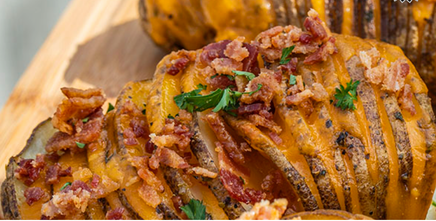 Hasselback Potatoes With Candied Bacon!