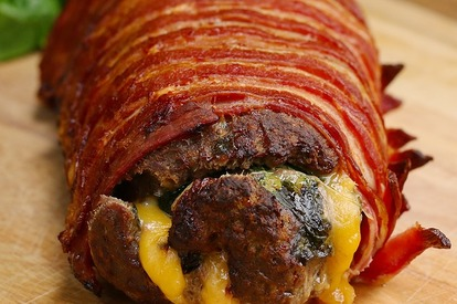 The Bacon Wrapped Burger Roll!