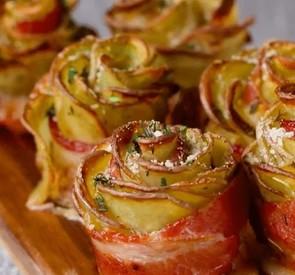 Bacon Potato Roses!