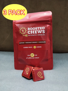 Boosted Chews Caffeinated Chocolate Hazelnut Crunch - Jumbo 3 Pack - Hazelnut Caffeine Chocolate Energy Bites (3 x 12ct Bags)