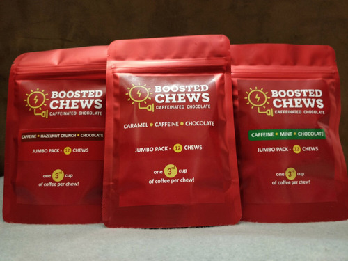 Boosted Chews Caffeinated Chocolate Jumbo Bundle - 3 FLAVORS - Original, Mint & Hazelnut Crunch Caffeine Energy Bites (3 x 12ct Bags)